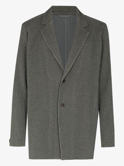 single-breasted plissé blazer