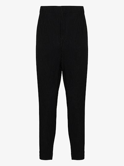 tapered leg plissé trousers