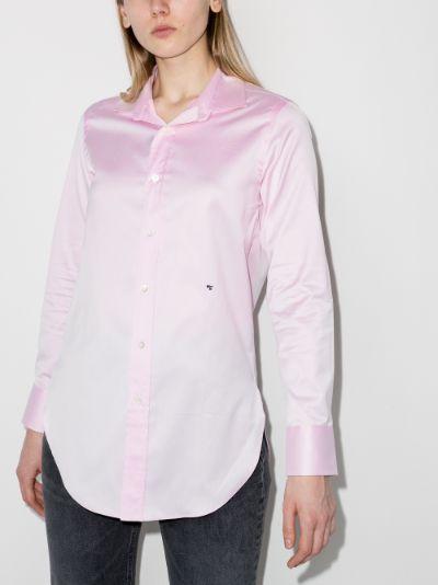 cropped frayed cotton shirt