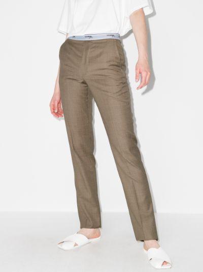 logo waist wool trousers