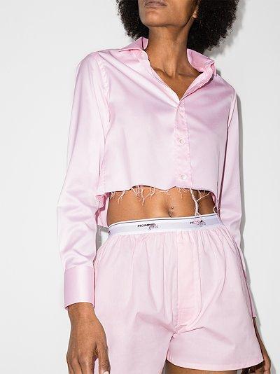 raw hem cropped cotton shirt