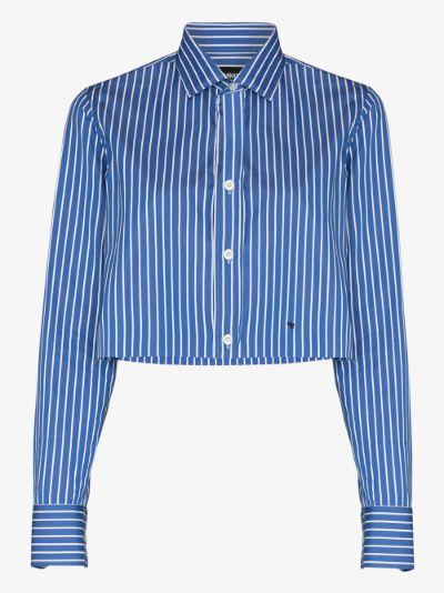 striped cropped cotton shirt