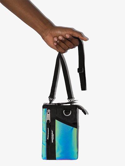 black Aurora reflective messenger bag