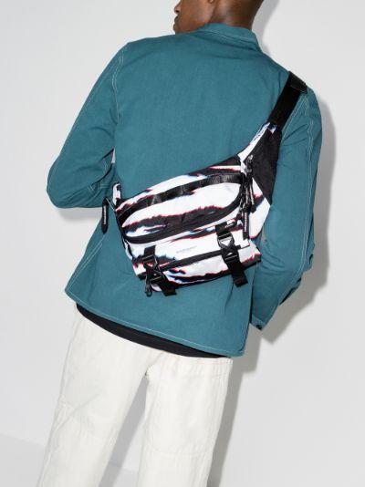 white and black striped cross body bag