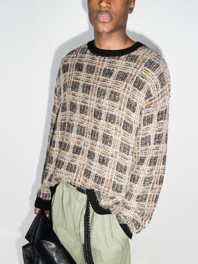 Check pattern crew neck sweater
