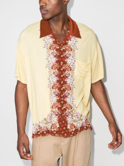 Floral trim short sleeve shirt