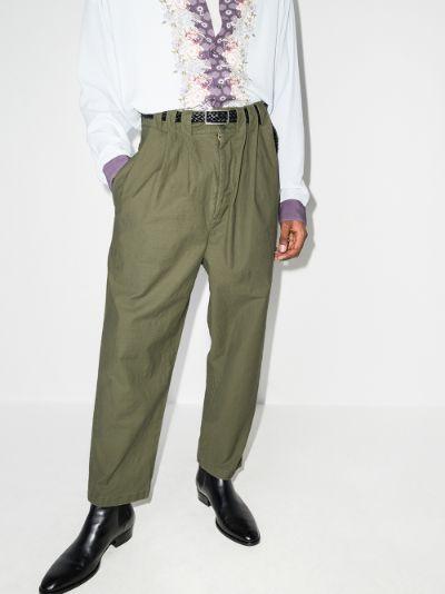 pintuck straight leg trousers