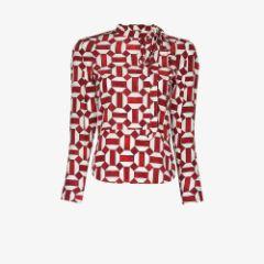 Artus geometric pattern silk blouse
