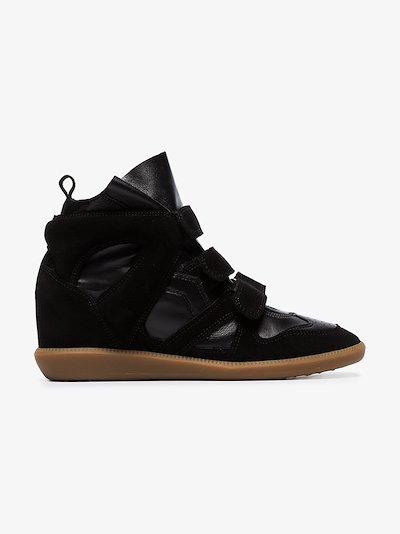 black Buckee wedge sneakers