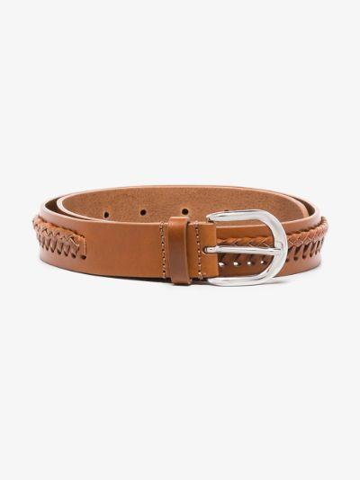 Brown Zadi woven leather belt
