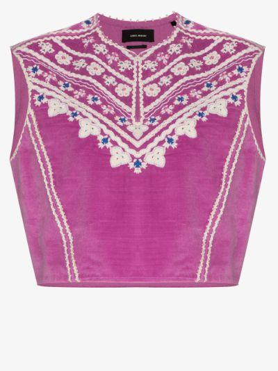 Camena cropped velvet blouse