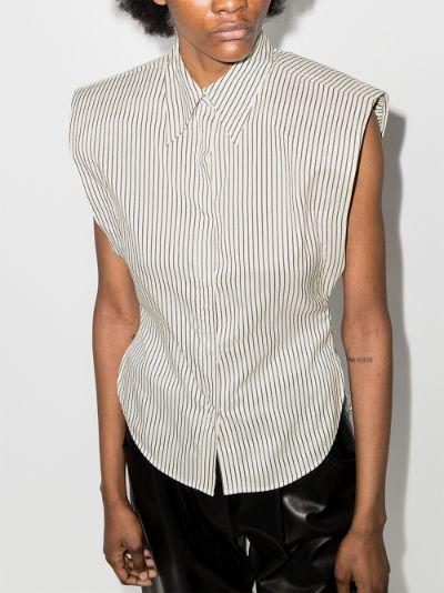 Enza striped sleeveless silk shirt