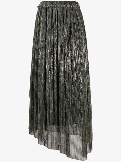 asymmetrical metallic pleated skirt