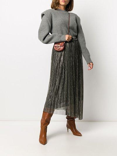 Dolmenae metallic pleated skirt