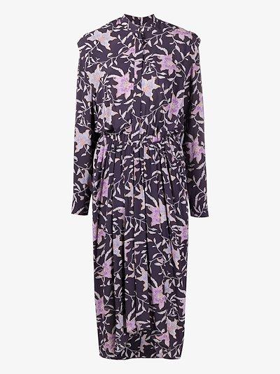 Okley pleated floral print dress
