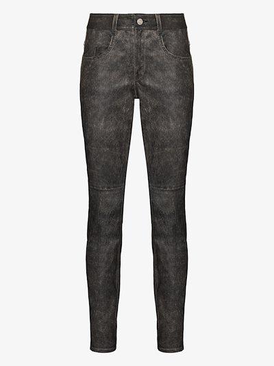 Taro faded leather skinny trousers