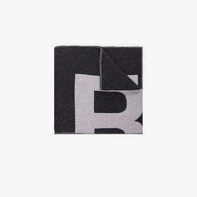 grey Loli logo knit wool scarf