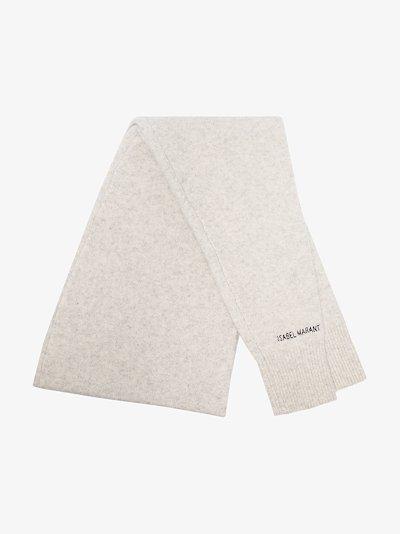 light grey Palania logo knit scarf