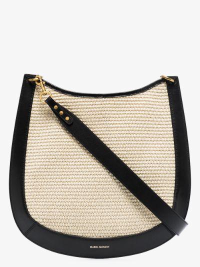 Neutral Moskan medium raffia shoulder bag