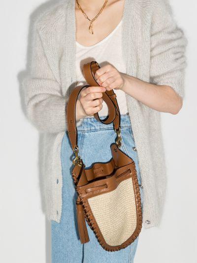 neutral Radja raffia drawstring shoulder bag