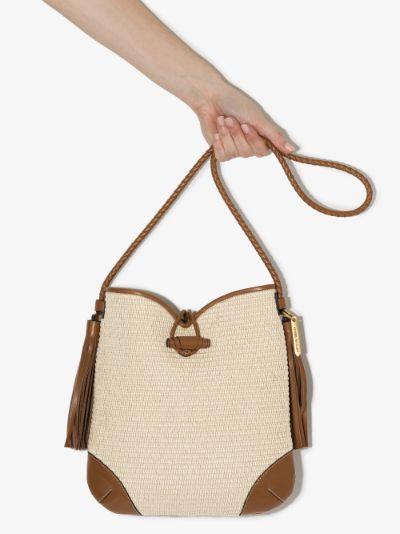 neutral Tyag raffia shoulder bag