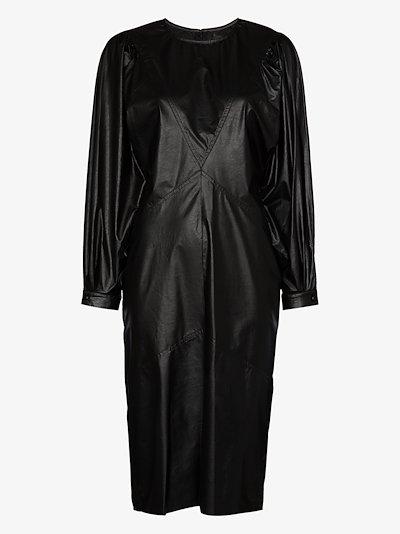 pouf sleeve faux leather midi dress