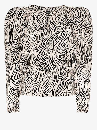 pouf sleeve zebra print blouse
