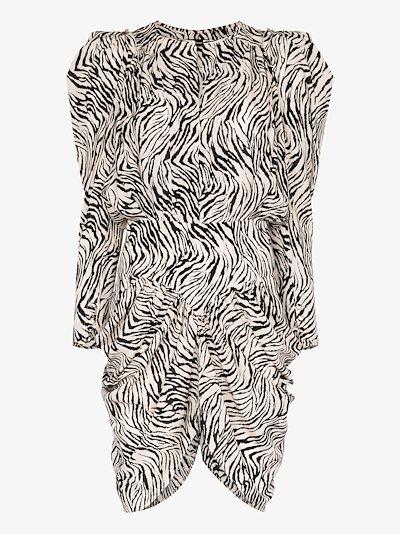 Pouf sleeve zebra print silk dress