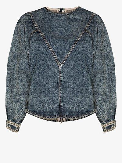 puff sleeve denim blouse