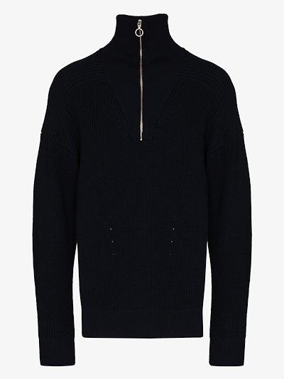 ribbed half-zip sweater