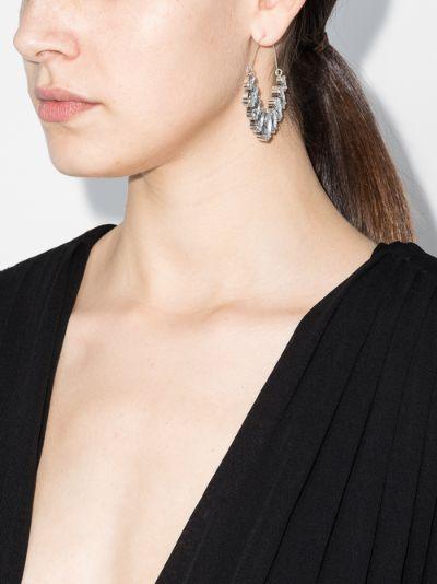 Silver tone crystal drop hoop earrings