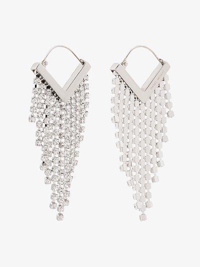silver tone crystal triangle drop earrings