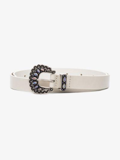 white Temoia embellished leather belt