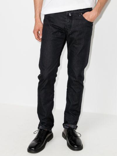 mid-rise slim leg jeans