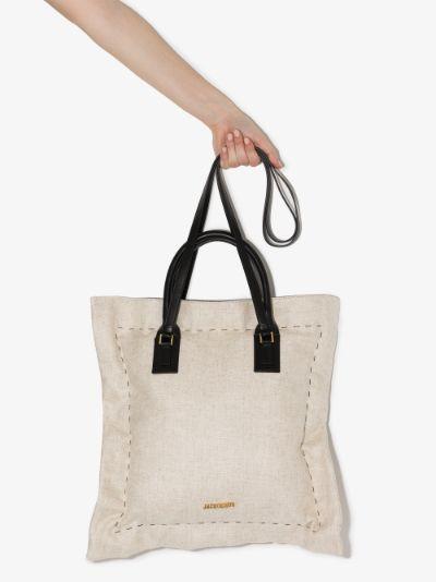 beige La Coussin leather trim tote bag