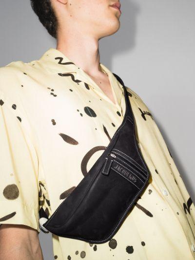 black le banane leather cross body bag