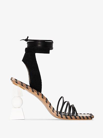 Black Les Sandales Valérie Hautes 105 leather sandals