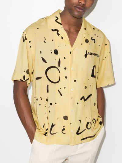 Jacquemus La Chemise Jean abstract print shirtBrowns
