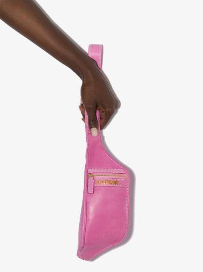 Pink La Banane leather cross body bag