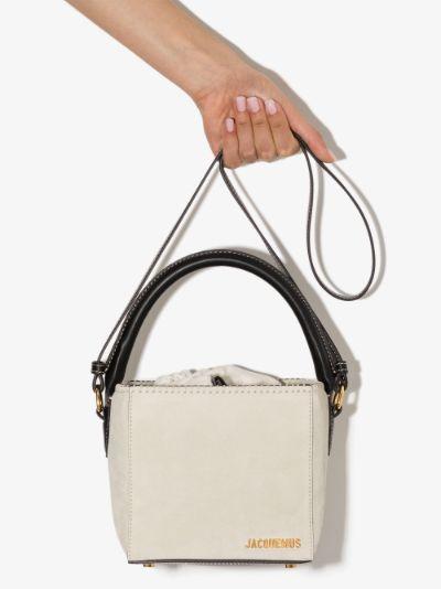 white Le seau carré suede bucket bag