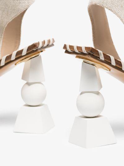 White Les Sandales Valérie Hautes 105 leather sandals