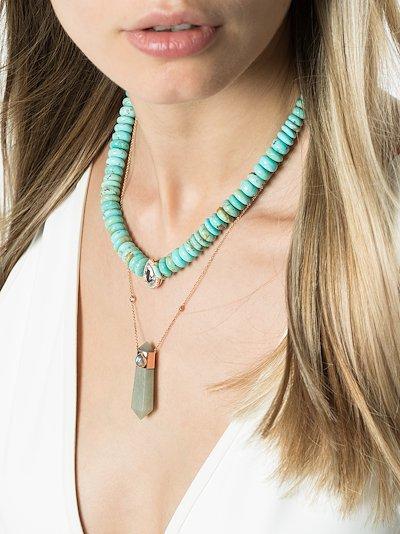 14K rose gold amazonite crystal necklace