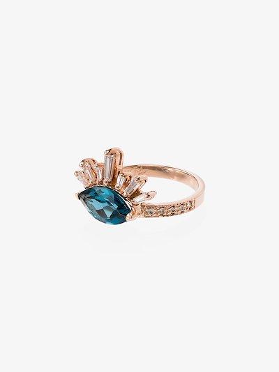 14K rose gold Burst topaz diamond ring