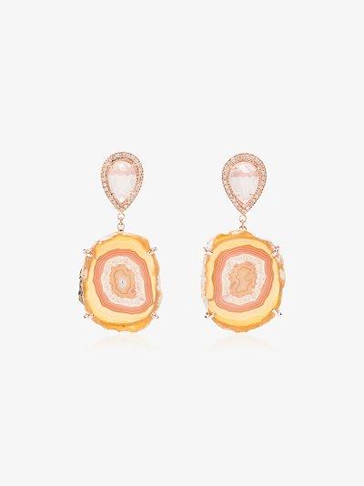 14K rose gold Moonstone agate diamond drop earrings