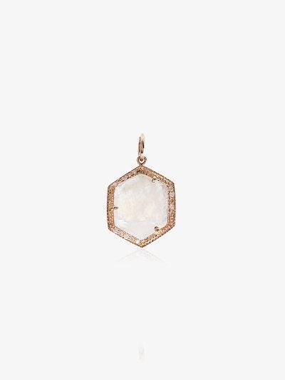 14K Rose Gold Moonstone Hexagon Diamond Charm
