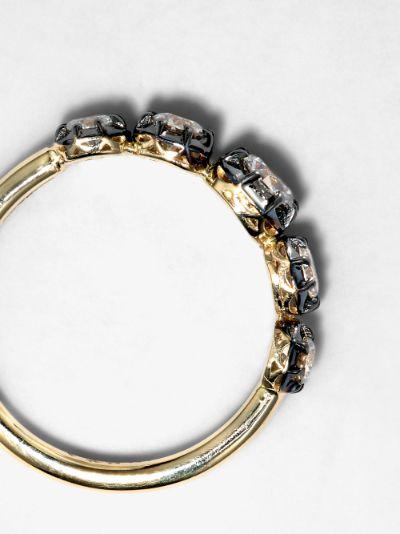 14K yellow gold black rhodium and diamond Sophia ring