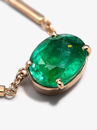 14K Yellow Gold emerald pendant diamond necklace