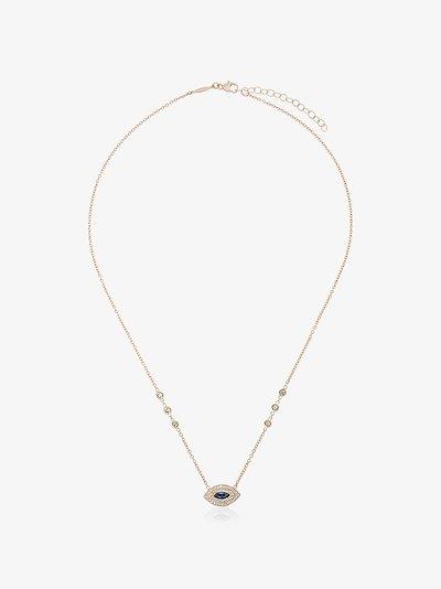 14K yellow gold eye diamond sapphire necklace