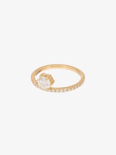 18K yellow gold round diamond ring