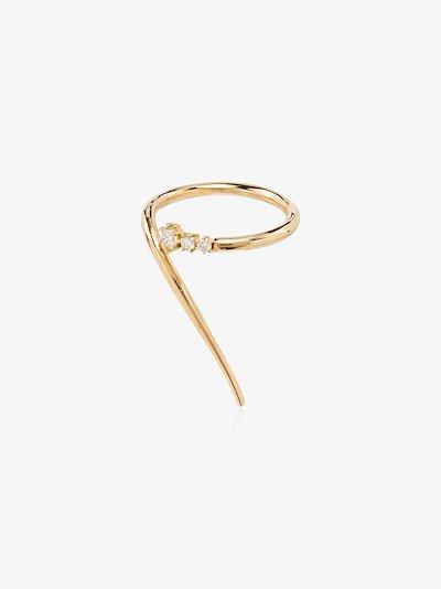 18K yellow gold wrap curve diamond ring